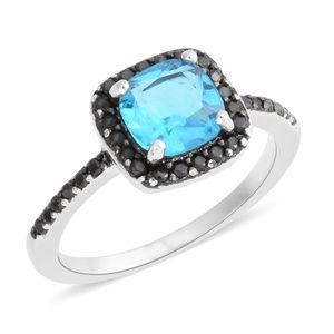 Simulated Aqua Diamond, Simulated black Dia. Ring